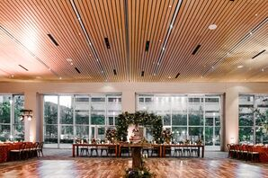 Modern Wood and Floral Indoor Reception
