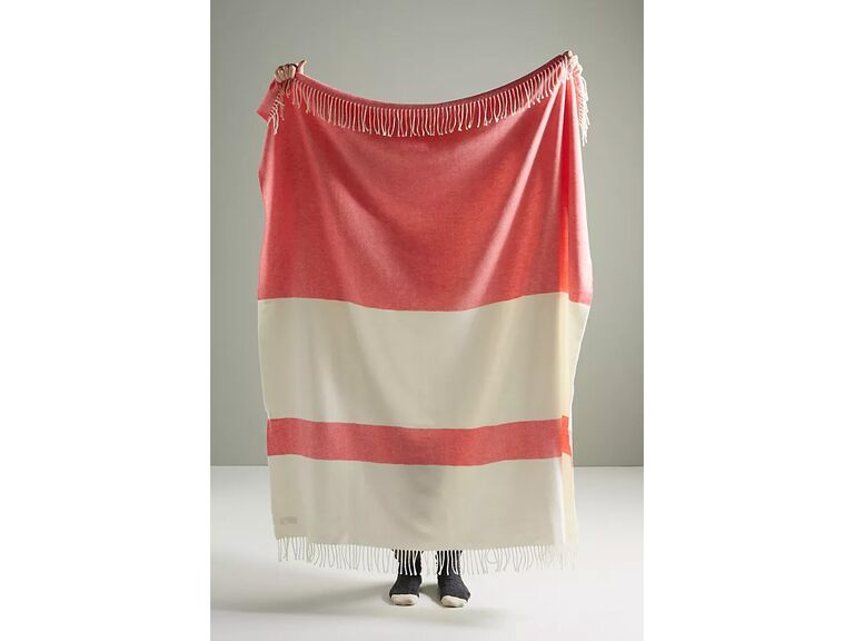 Coral and cream striped throw blanket