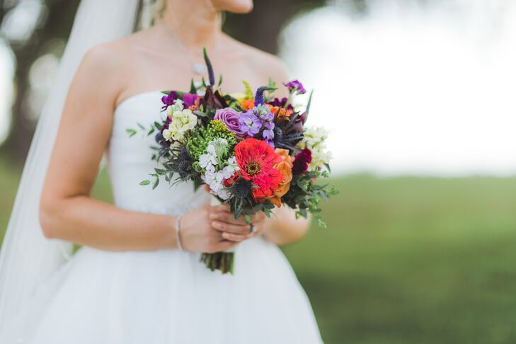 Purple Rose and Red Zinnia Bouquet
