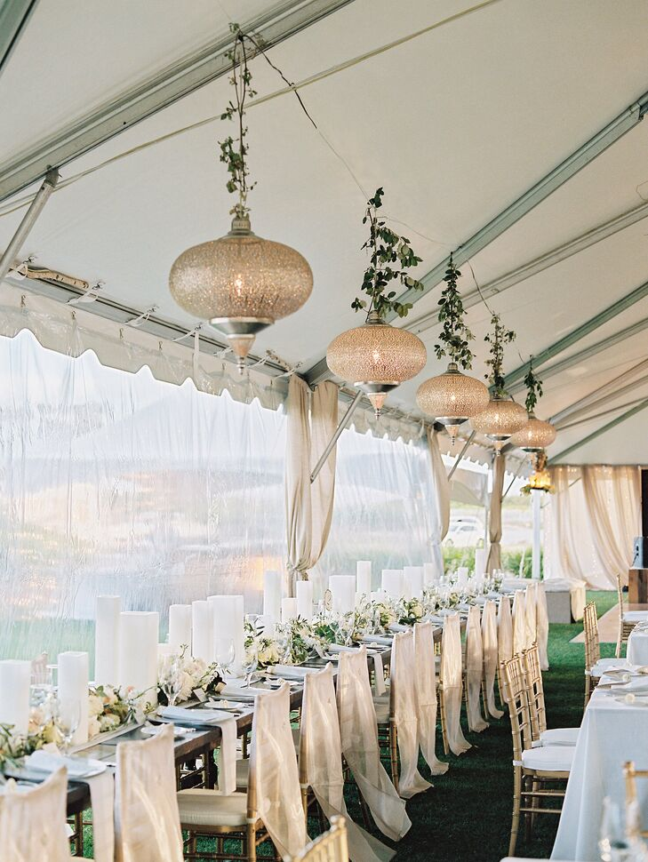 Tented Reception with Greenery Chandeliers