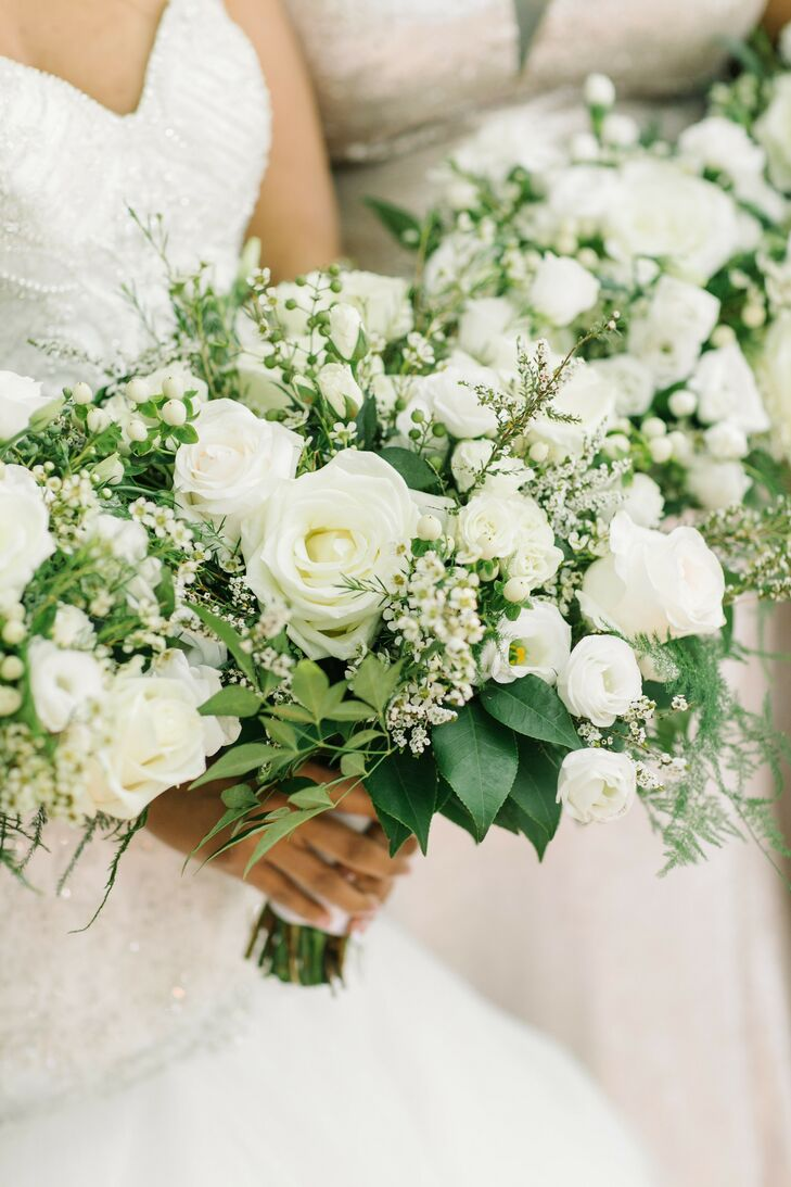 White-and-Green Bouquet for Wedding at The Lace House in Columbia, South Carolina