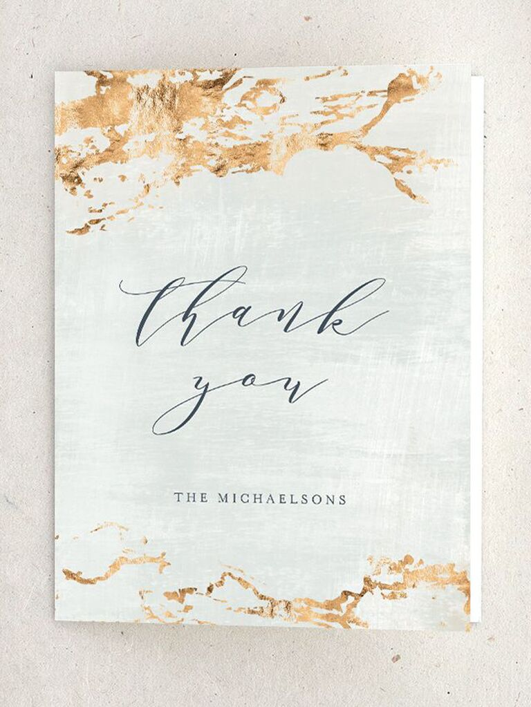earthy wedding thank-you card with gold hues