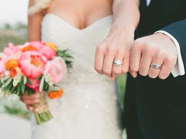 Couple shows off their new wedding rings