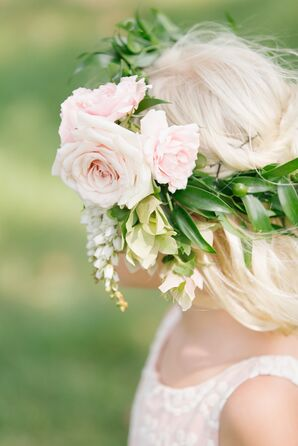 Pink Rose, White Lily of the Valley Flower Crown