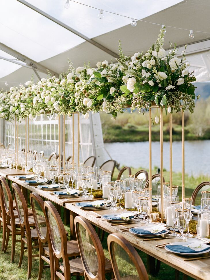 Wood Farm Table with Tall Greenery Centerpieces