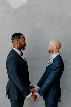 Classic Grooms Wearing Navy Tuxedo and Navy Suit