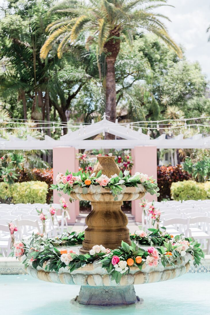 Clementine and Pink Floral Fountain Arrangements