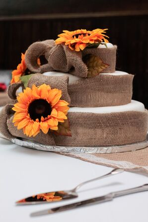Burlap and Sunflower Wedding Cake