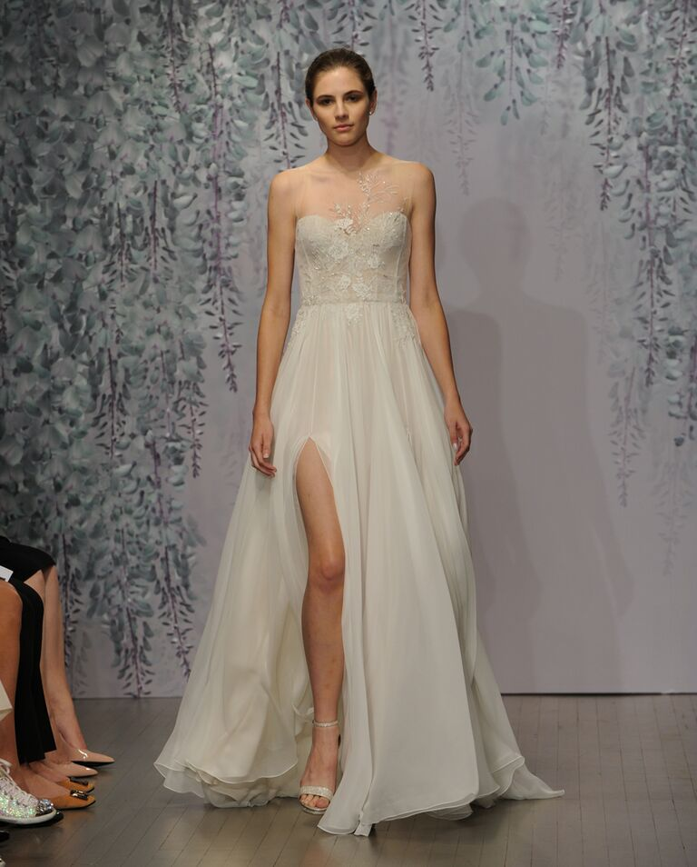 Monique Lhuillier wedding dress Fall 2016 Silk white/champagne sleeveless illusion embroidered bodice sheath gown with flowing chiffon skirt