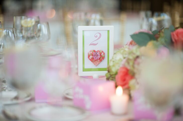 Table Number with Origami Heart