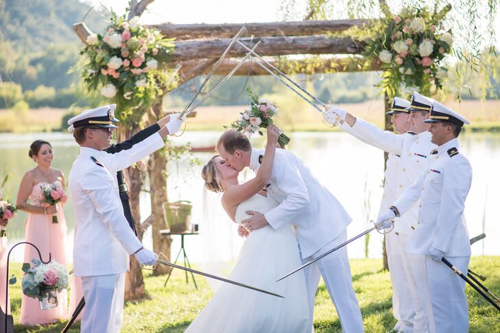 "After their marriage pronouncement and during their first kiss, Park's fellow Navy officers gave the newlyweds a sword salute. ""We had six military officers perform the arch, and it was definitely one of our favorite moments from the ceremony,"" Morgan says. The couple walked down the aisle to Vitamin String Quartet's version of ""Concerning Hobbits,"" a nod to their love for ""The Lord of the Rings."""