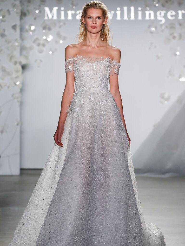 Mira Zwillinger Spring 2020 Bridal Collection off-the-shoulder embellished wedding dress