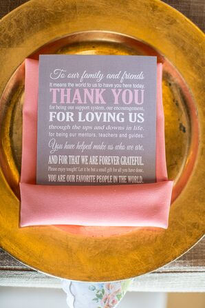 Gray and Pink Thank-You Card