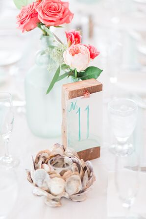 Watercolor Table Number with Seashell Decor and Rose Centerpiece