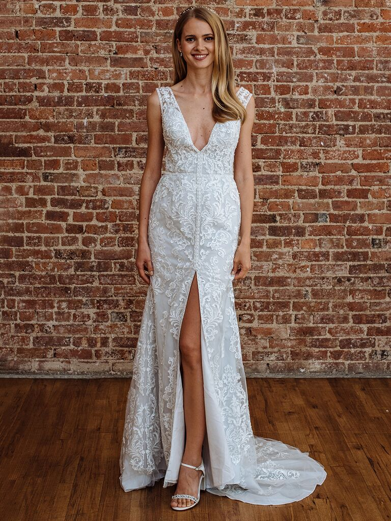 Galina signature fall 2018 collection bridal fashion week photos galina signature fall 2018 wedding dresses embroidered gown with slit and plunging neckline junglespirit Images