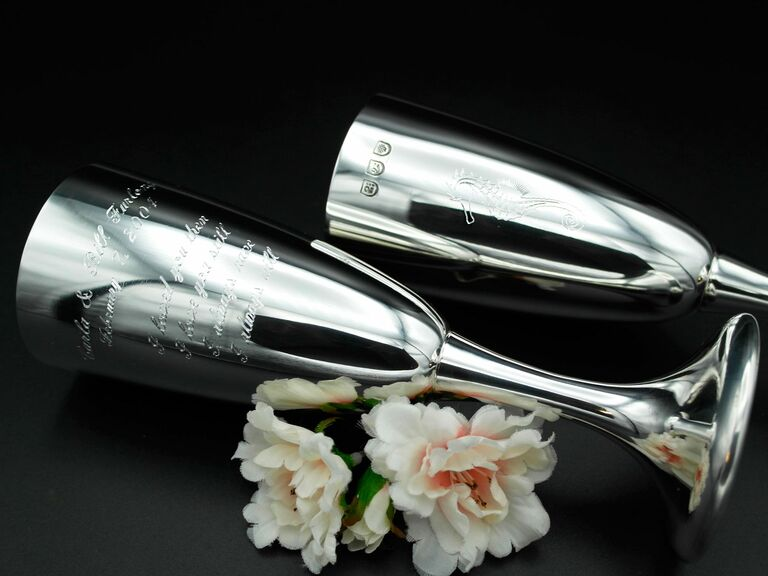 Silver champagne flutes 16th anniversary gift