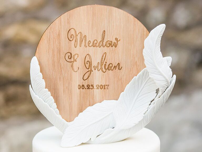 wooden circle cake topper feathers