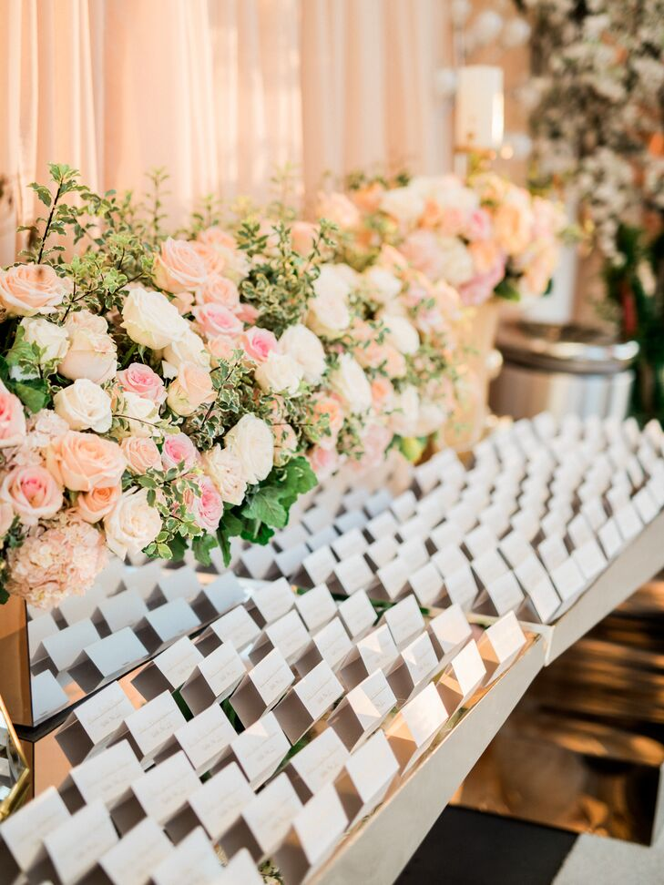 Blush Pink Flowers At Escort Card Table
