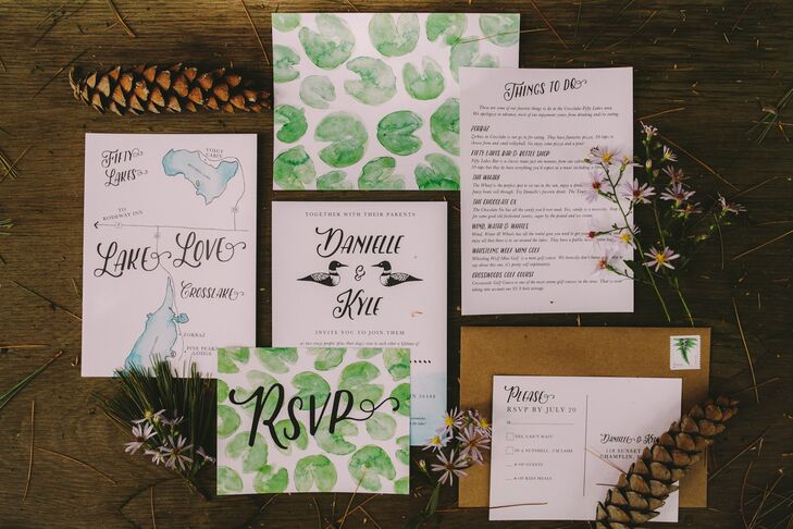 "When designing the invitations, Danielle—a watercolor artist and designer—tried to communicate the feelings she has when at her family's cabin. She painted lily pads, (reminiscent of a small area of Mitchell Lake) and created a custom logo of two loons. For out-of-town guests, she made a map of the lake and surrounding area, with a list of favorite things to do. She even worked with a printer to find the perfect paper so it would feel of a watercolor painting. ""It was the most important design I've done,"" she says. ""I had so much fun with it."""