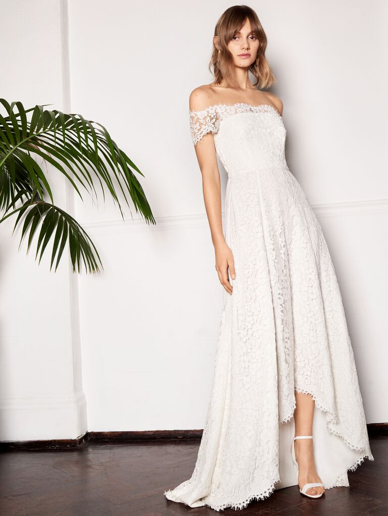 Whistles Wedding 2019 Bridal Collection off-the-shoulder lace weding dress with high-low hem