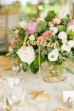 Gold Sparkly Spelled-Out Table Numbers