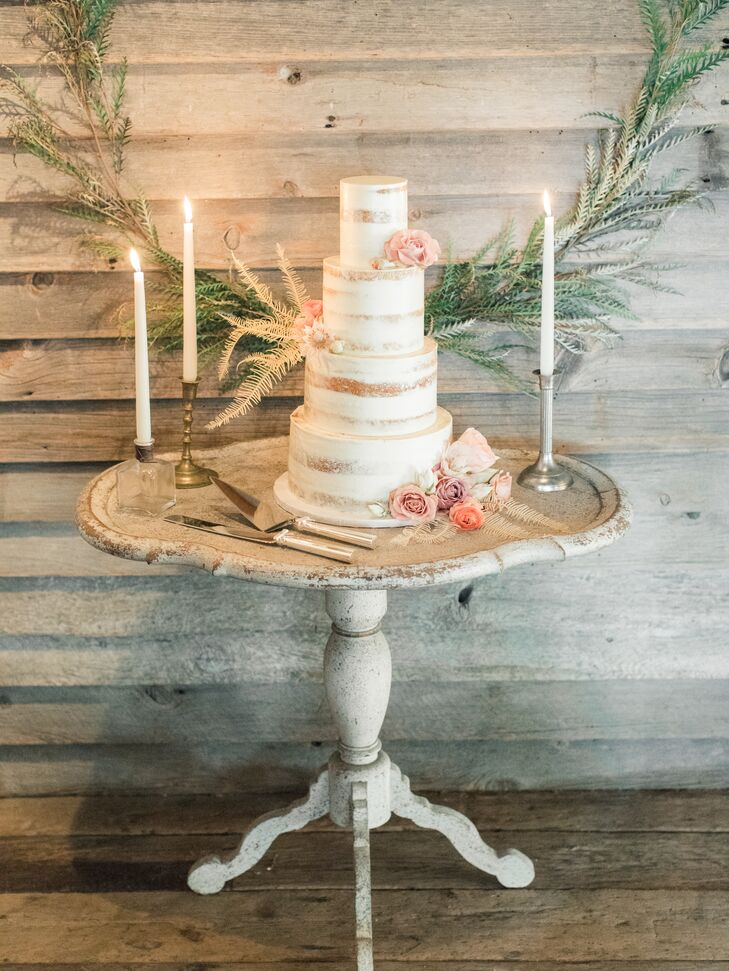 Tiered Semi-Naked Cake with Pink Peonies