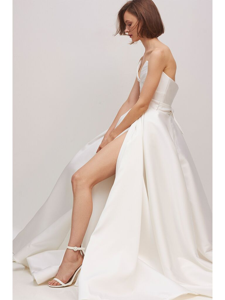Rivini by Rita Vinieris fit and flare gown with slit