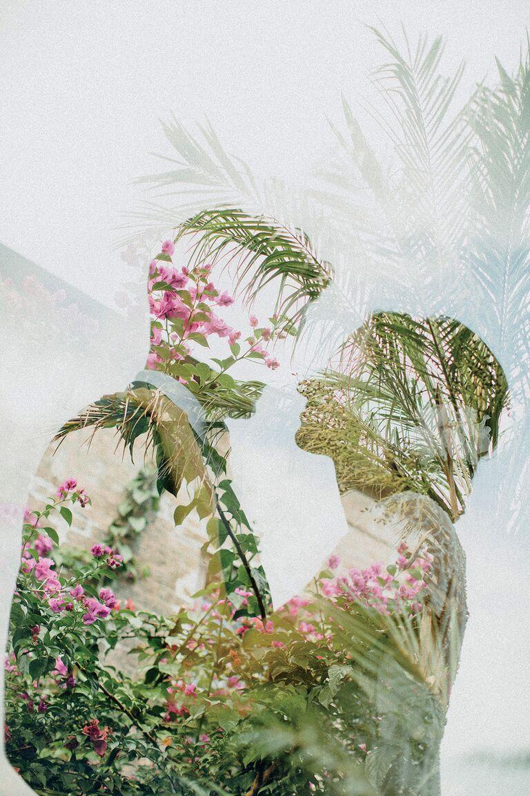 Double-exposed wedding photos