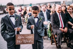 Ring Bearers with Wood Sign During Ceremony at Bissinger's in St. Louis, Missouri