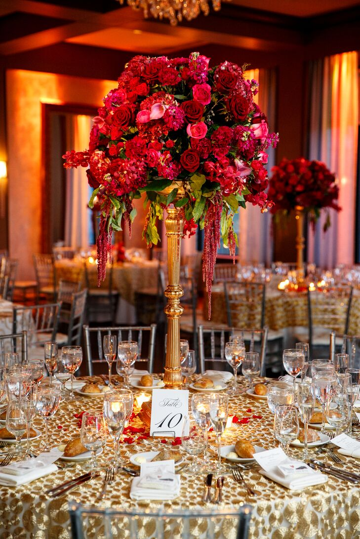 Elaborate Red Rose Centerpiece On Gold Stand