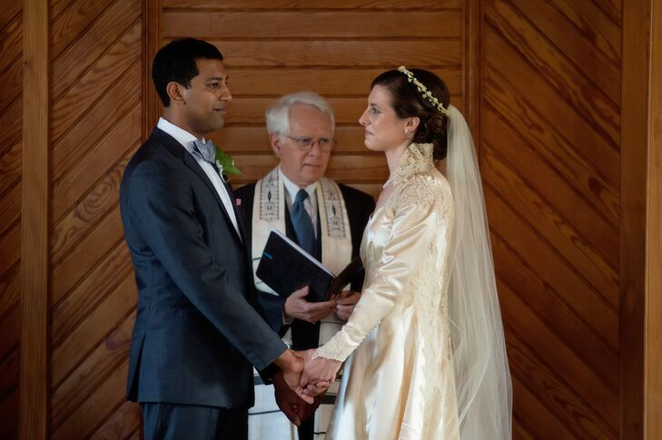 """""""My siblings each read a text from The Qur'an, the Bhagavad Gita, and a poem by Khalil Gibran.  We said our vows in both Hebrew and English, and Chris successful stomped on the ceremonial glass,"""" Nellie says of their eclectic, interfaith ceremony."""