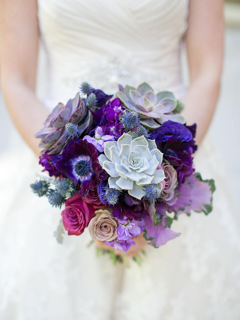 Purple wedding bouquet with succulents