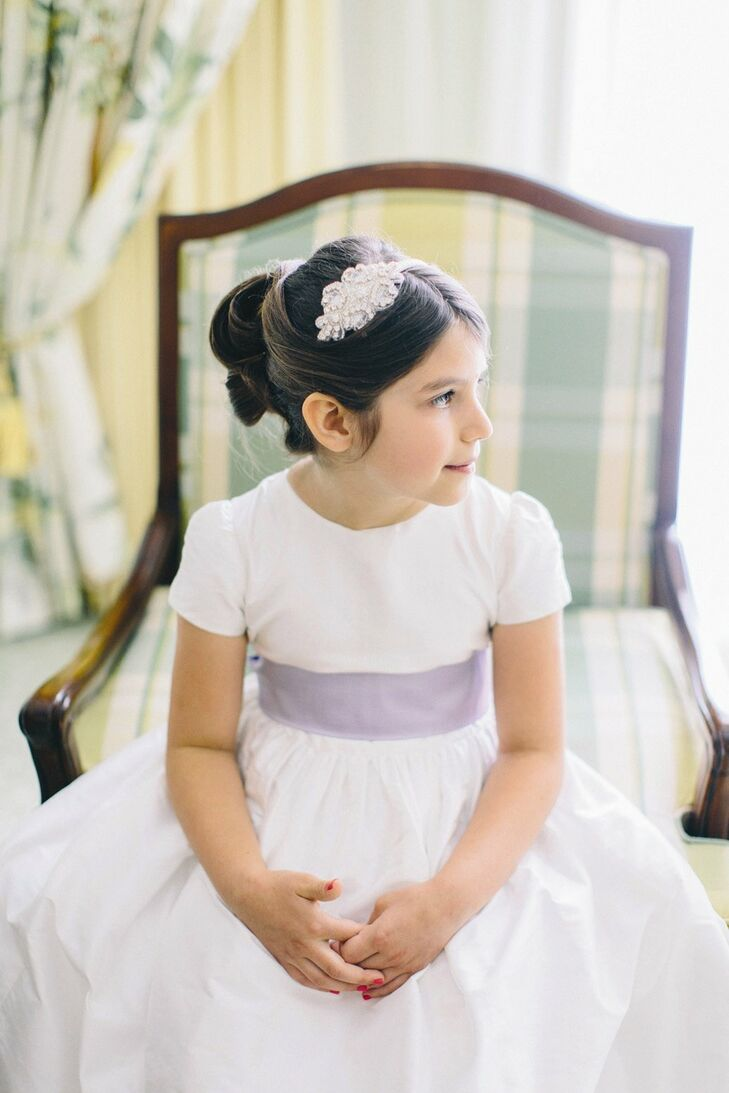 Flower Girl Dress With Purple Sash
