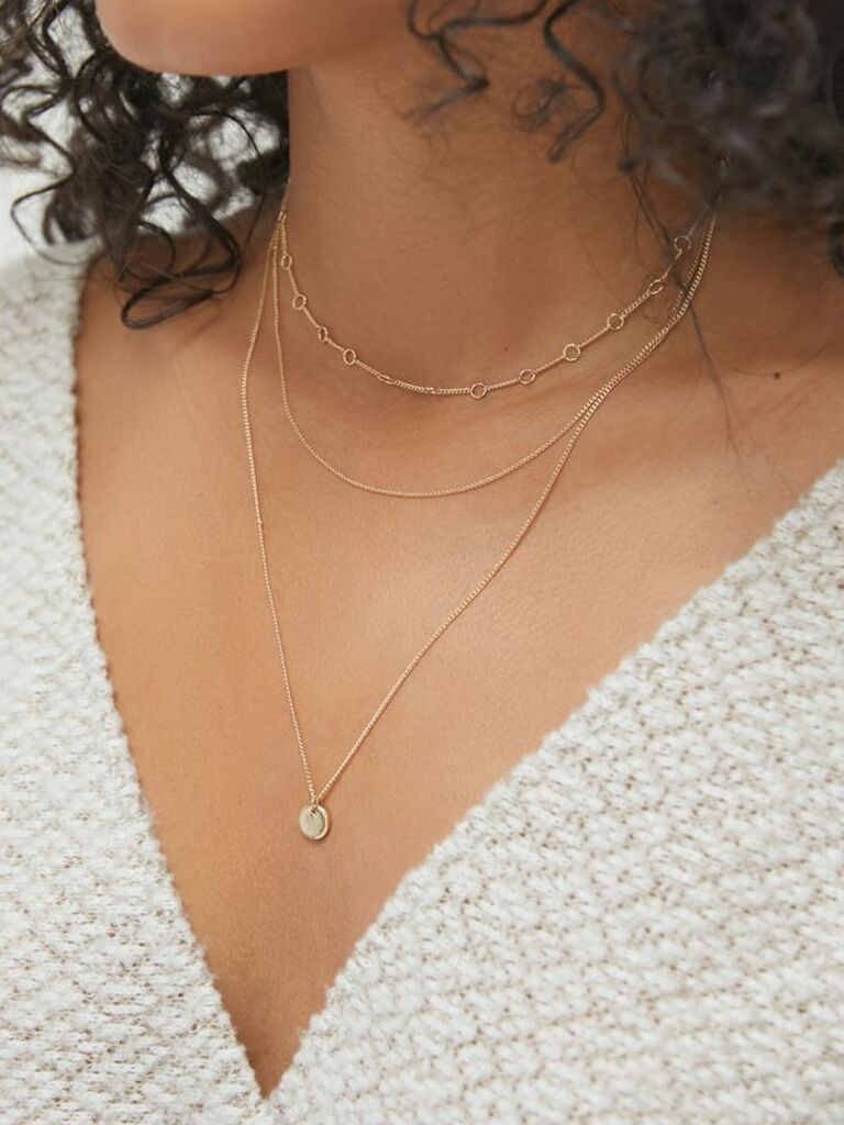 urban outfitters layered bridesmaid necklace