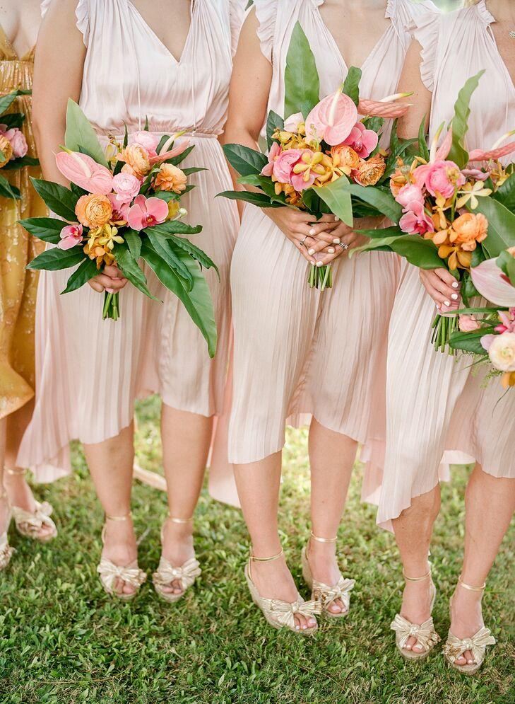 Blush Bridesmaid Dresses for Tropical Wedding in Kapalua, Hawaii