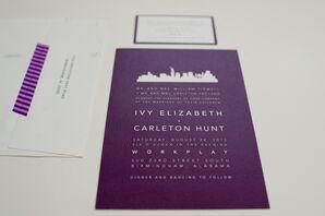 Purple Cityscape Invitation Suite