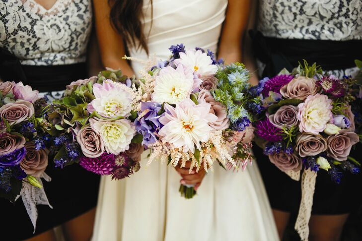 Brittany and her girls carried similar purple bunches of roses, herbs, hydrangeas and lavender.