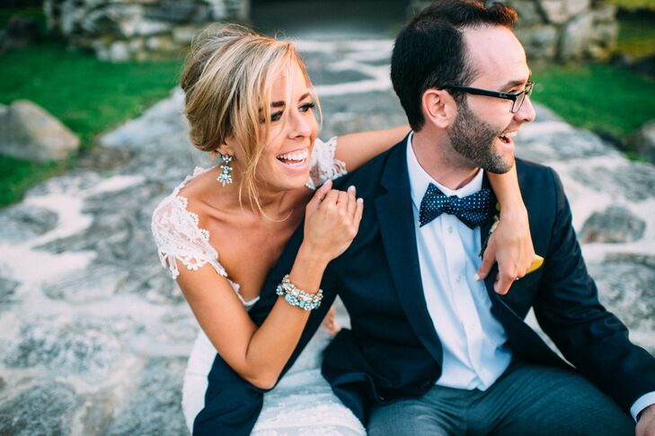 """""""The dress was such a showstopper, I felt like I really didn't need a veil or heavy accessories,"""" Lauren says. Instead, she finished her look with matching earrings and a bracelet from Anthropologie."""