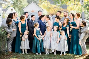 Teal Bridesmaid Dresses with Silver Suits