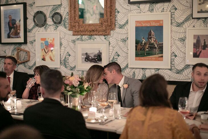Modern Couple at Intimate Restaurant Reception in the Pink Cabana
