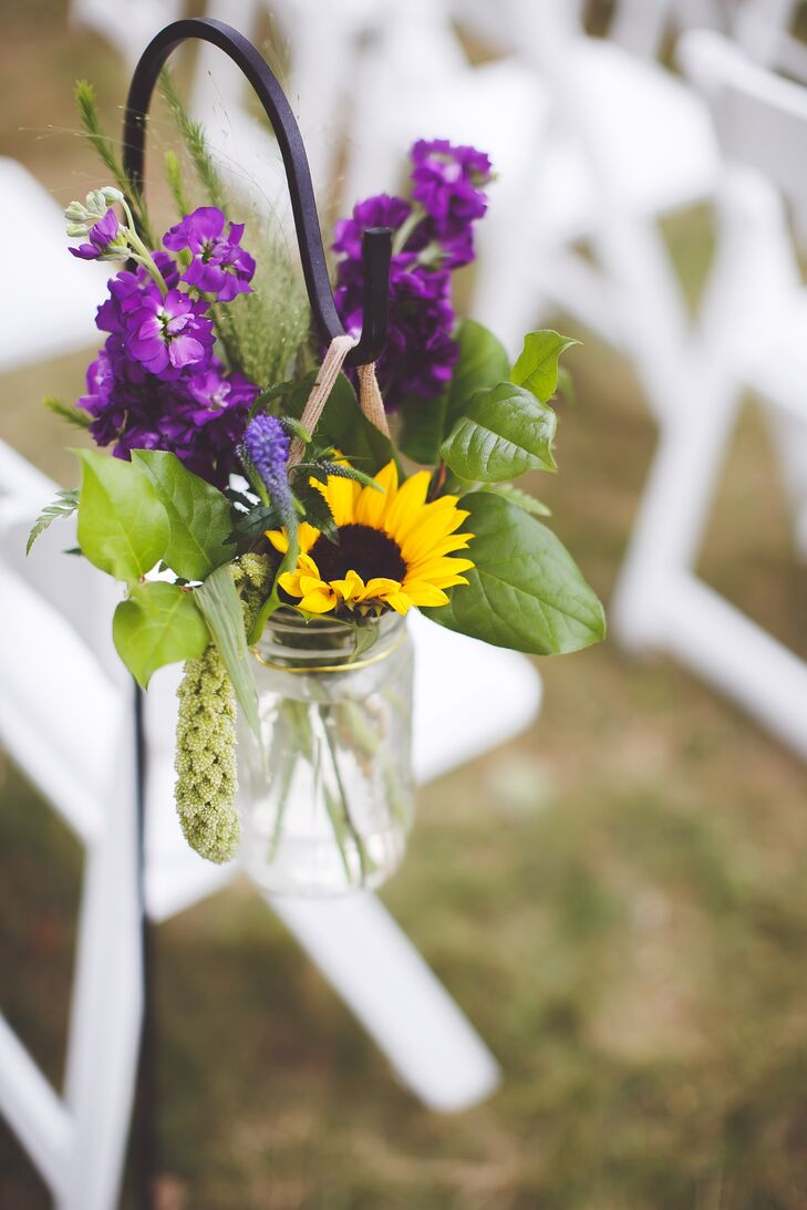 Wildflower Mason Jar Aisle Decorations