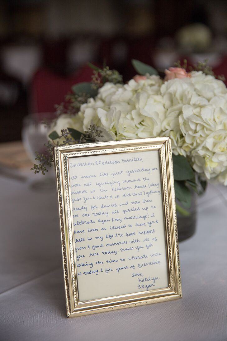 The couple handwrote personalized letters to display on each table for their guests.