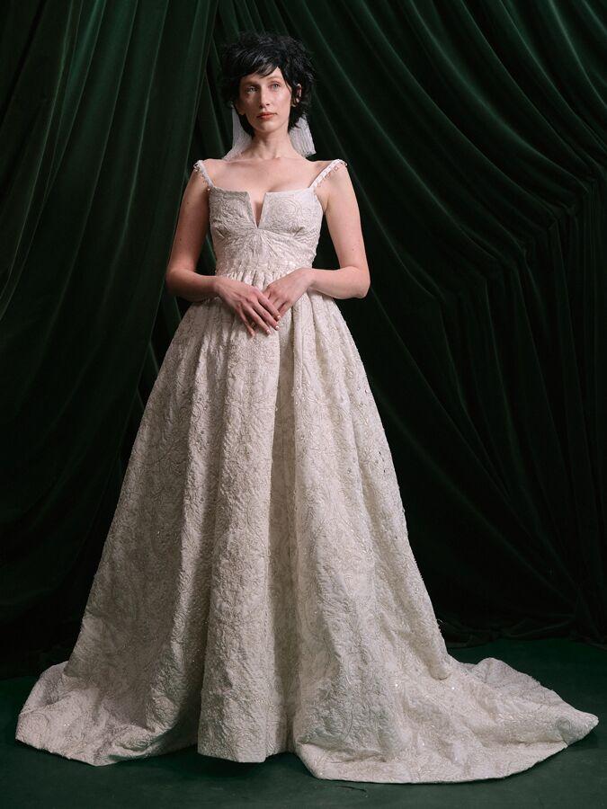 Wiederhoeft hand-embroidered taffeta ball gown