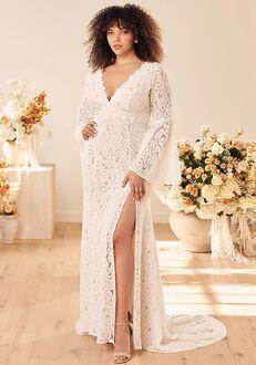 Lulus Duchess Ivory Lace Bell Sleeve Maxi Dress Sheath Wedding Dress