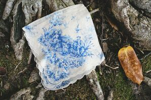 Blue and White Printed Handkerchief