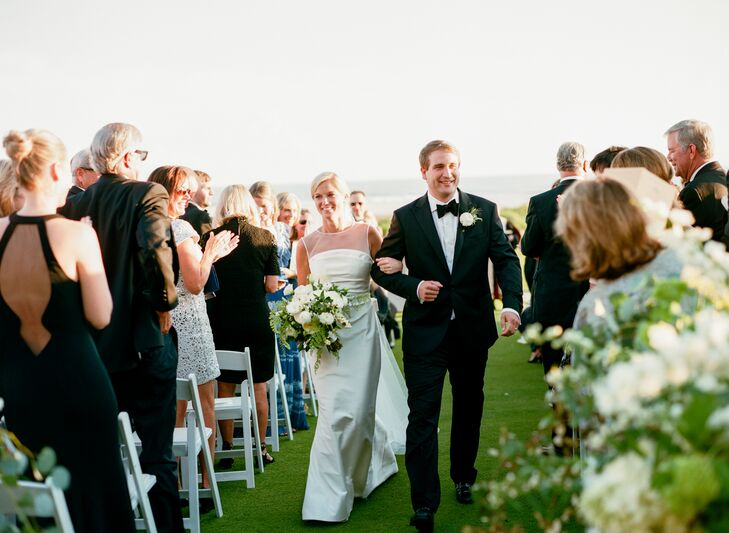 During the couple's ceremony, a five-piece string quartet played classical music, while a bagpiper serenaded guests during the processional and recessional.