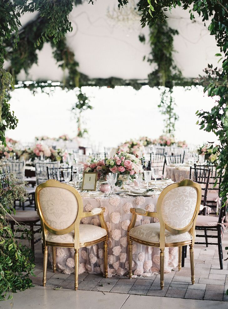 Sweetheart  Table with Gold Accented Vintage Chairs