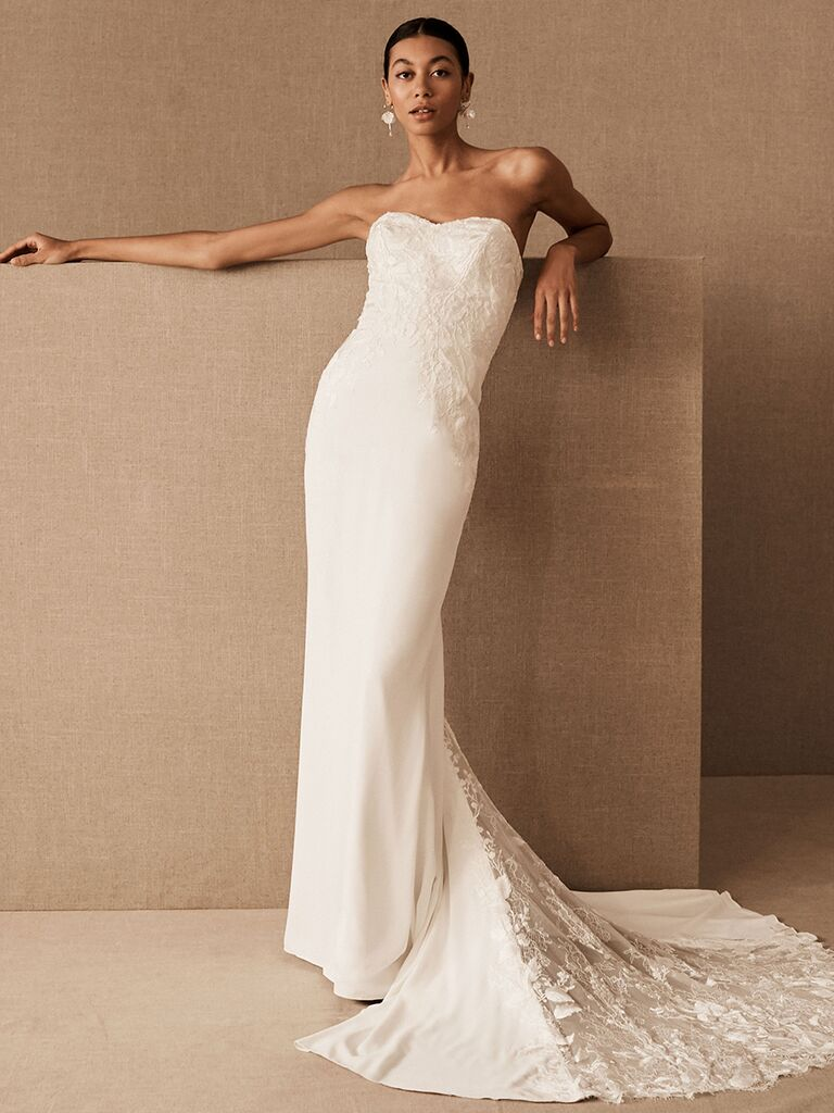 BHLDN fitted column dress with lace train and lace bodice