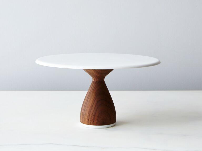Chic, minimalist wood and white wedding cake stand