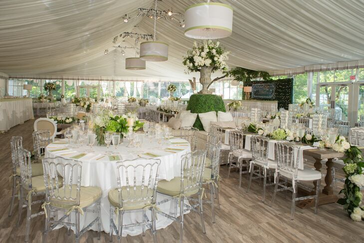 Preppy Tented Reception with Lucite Chairs and Greenery